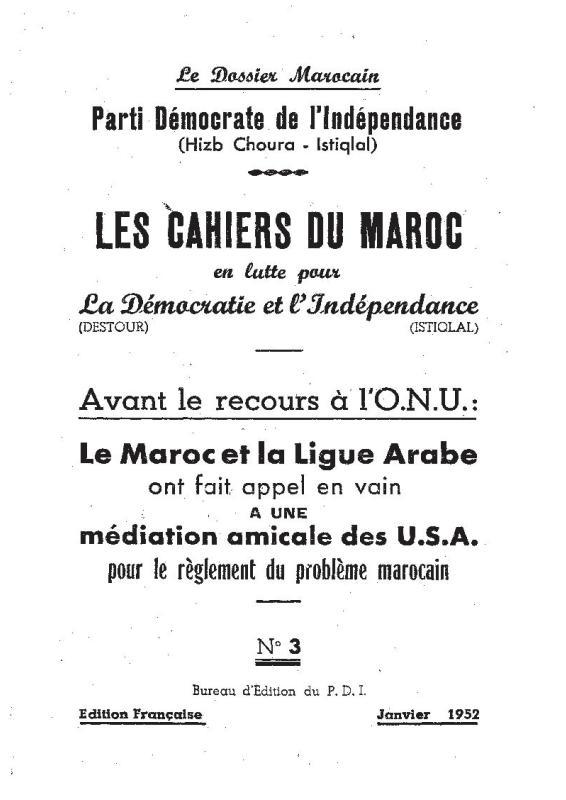 Les cahiers du Maroc en lutte pour la Démocratie et l Indépendance_PDI_n°3_janv 1952