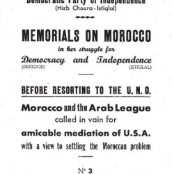 Mémorials on Morocco in her struggle for Democracy and independance_PDI_n°3_jan 1952