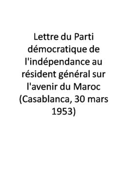 Lettre du Parti démocratique de l'indépendance au résident général sur