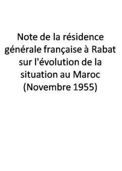 Note de la résidence générale française à Rabat sur l'évolution de la