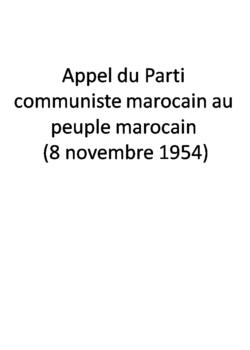 Appel du Parti communiste marocain au peuple marocain (8 novembre 1954)