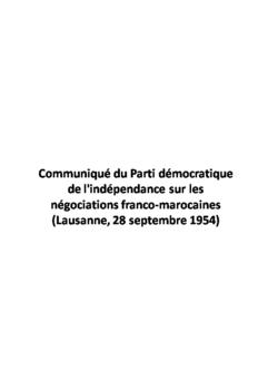 Communiqué du Parti démocratique de l'indépendance sur les